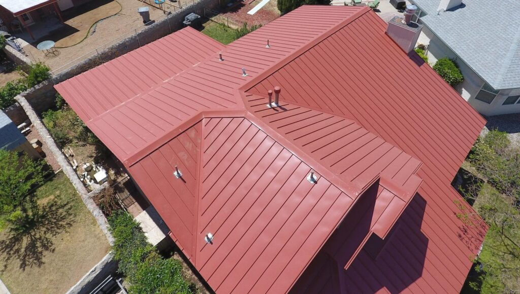 A metal roof over a residential property in El Paso