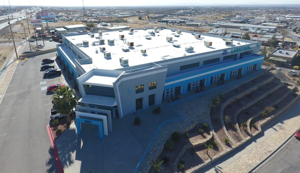 An arial image of a commercial roof